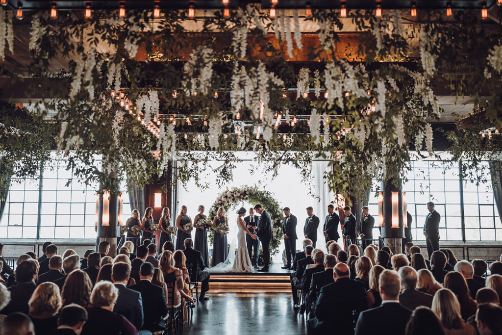 ethereal wedding decor at houston industrial venue